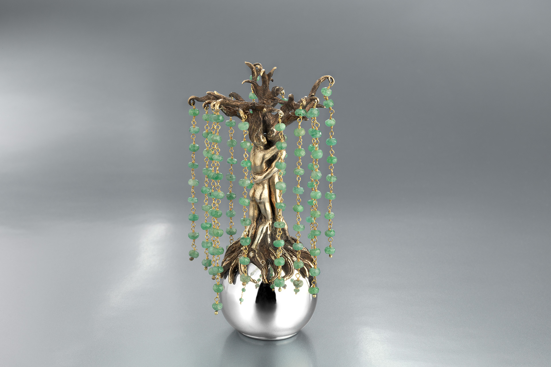 Love sculpture with emeralds - Maria Kovadi